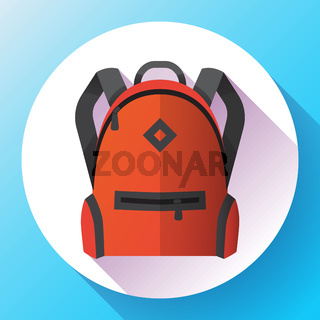 Icon of bright red school or travel backpack