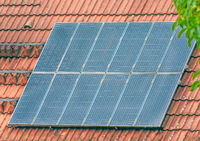 Roof of a house with a photovoltaic system
