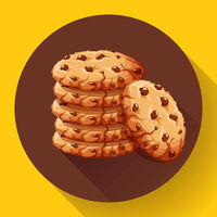 Vector chocolate crumbs chips icon. Realistic homemade choco chip cookies vector illustration.
