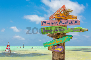 Colorful signpost at coast of Bonaire