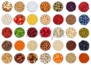 Früchte Beeren Gemüse Sammlung Nüsse von oben isoliert freigestellt Freisteller