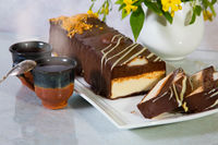 Delicious cheesecake with chocolate