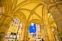 Vienna state Opera house arcades and evening street view