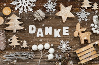 Wooden Christmas Decoration, Danke Means Thank You, Tree And Sled, Snowflakes