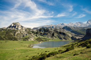 summer mountain landscape inLake Ercina, in Covadonga lakes, Asturias, Spain