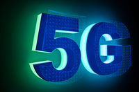 word 5g with neon light