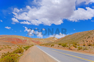 Mountain road in the high andes, trough the Cuesta De Lipan canyon from Susques to Purmamarca, Jujuy, Argentina