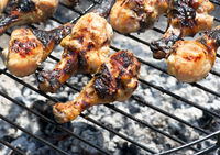 Chicken legs on the grill