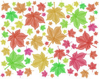 bright colorful modern chestnut leaf repeating pattern design