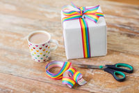 cacao, gift, gay awareness ribbon and scissors