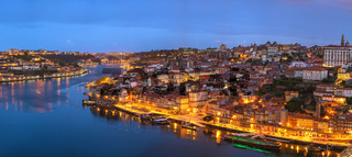 Porto Portugal night panorama city skyline at Porto Ribeira and Douro River