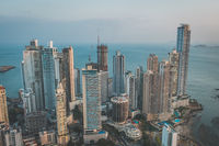 skyscraper buildings, downtown city aerial of Panama City -