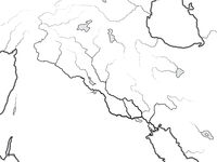World Map of The TIGRIS & EUPHRATES Valley: Iraq, Syria, Armenia, Levant, Middle East, Persian Gulf. Geographic chart.