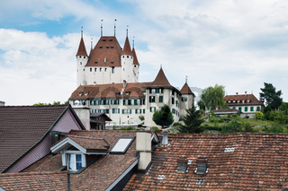 View to famous castle Thun in Swiss