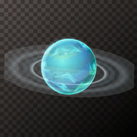 Realistic Uranus planet with texture and rings, colorful planet on transparent background