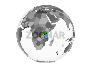 Tanzania with flag on globe isolated