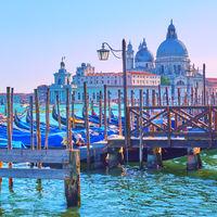 Gondolas and Santa Maria church in Venice