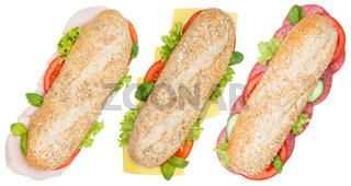Brötchen Vollkorn Baguette Käse Salami Schinken von oben freigestellt Freisteller