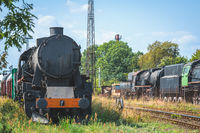 Old disused retro steam train locomotive