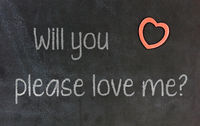Blackboard with small red heart - Will you please love me
