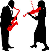 Silhouettes a musician playing the violinon snd saxophone a white background