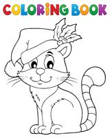 Coloring book Christmas cat theme 2