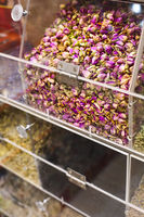 Colorful counter with tea at Spice market
