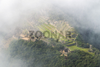 Machu Picchu ruins aerial