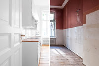 renovation concept - kitchen room before and after refurbishment or restoration  -
