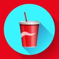 soda bottle with red lable flat vector icon