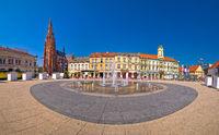 Osijek main square and cathedral panoramic view