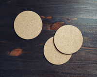 Three cork coasters