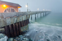 Pacifica Municipal Pier in Thick Fog and High Tide.