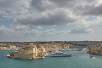View of old town and its port in Valletta in Malta