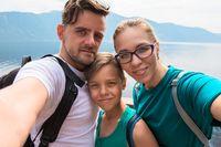 Selfie of family on the Teletskoye lake