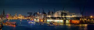 Hafenpanorama von Hamburg bei Nacht