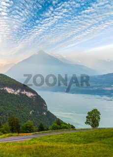 Lake Brienz summer morning sunrise view, Switzerland