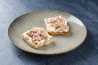 Delicious tuna sandwich, served with radish and cucumber
