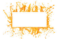 Orange juice or water  splash frame design with copy space inside isolated over white background