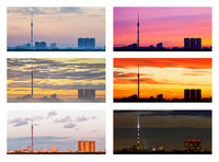 various sunsets and sunrises over city