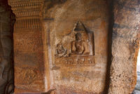 Cave 4 : Jaina Tirthankara Mahavira image engraved on the wall. Badami caves, Badami, Karnataka.