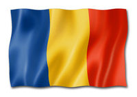 Romanian flag isolated on white