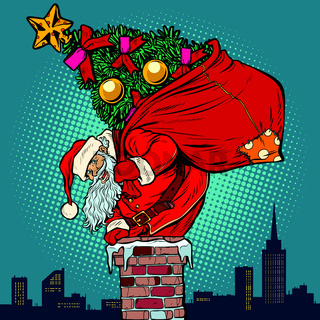 Santa Claus with a Christmas tree in a bag climbs the chimney