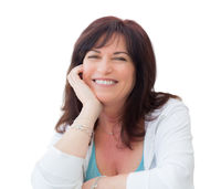 Attractive Middle Aged Woman Portrait Isolated On A White Background