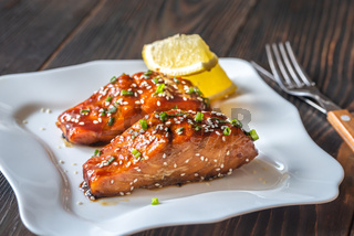 Teriyaki salmon on the white plate