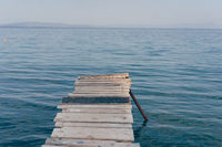 Perspective view of a old vintage wooden pier