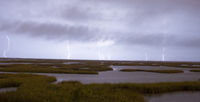 An Epic Thunderstorm Produces Lightning Strikes Hitting Galveston Texas