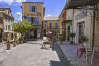 square and colourful houses of the village Banon