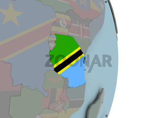 Map of Tanzania on political globe with flag