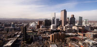 Blue skies and cold crisp temperatures exist on a winter day in Denver Colorado